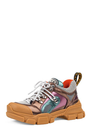 Gucci FlashTrek Metallic Leather Sneakers, Toddler/Kids