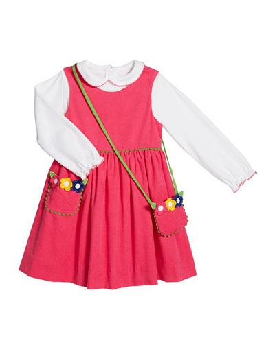 Corduroy Jumper w/ Long-Sleeve Top & Flower Crossbody Bag  Size 2-6X