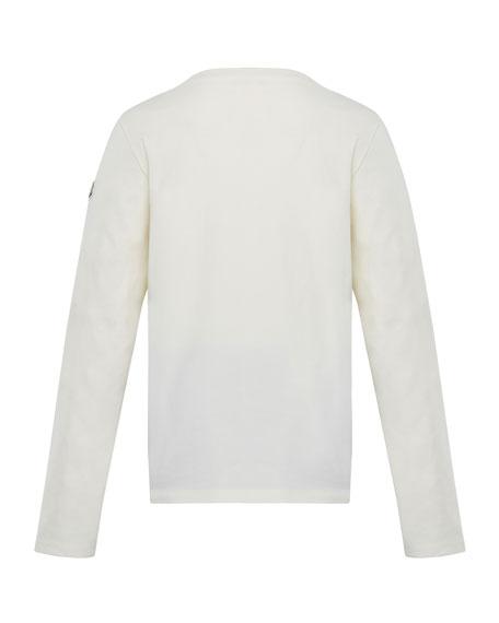 Moncler Glitter Logo Long-Sleeve T-Shirt, Size 8-14