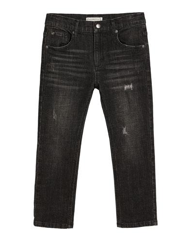 Slim Leg Distressed Denim Jeans  Size 2-14