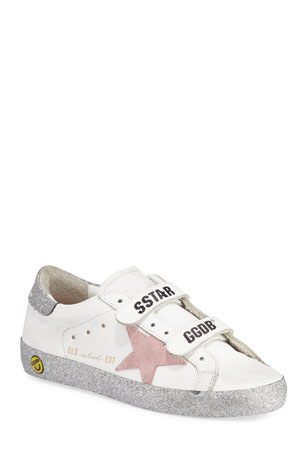 Golden Goose Girl's Old School Glitter Sole Low-Top Sneakers, Toddler/Kids