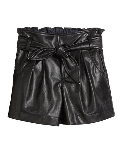 Sawyer Faux Leather Ruffle Shorts  Size 7-14