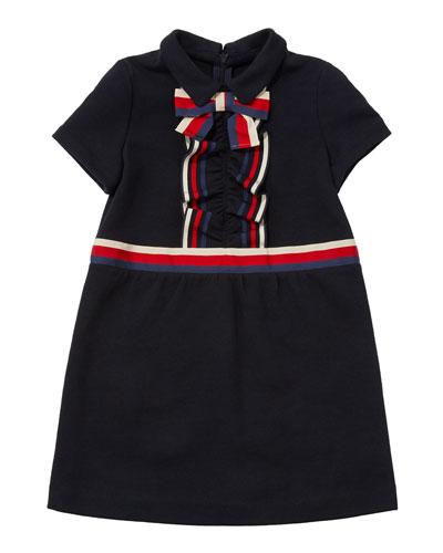 Girls' Short-Sleeve Collared Dress w/ Ribbon Detail  Size 4-12