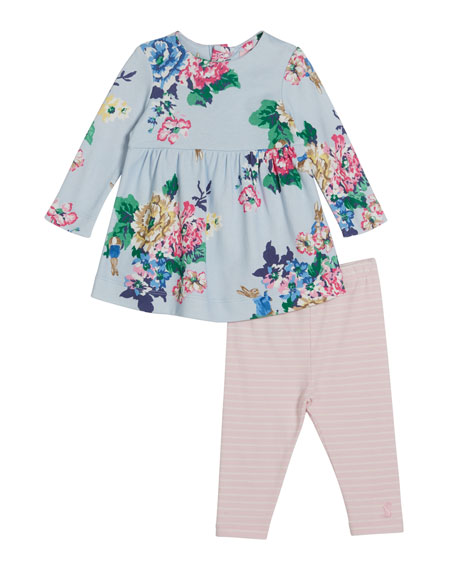 Joules Christina Floral Print Short-Sleeve Dress w/ Solid Leggings, Size 6-24 Months