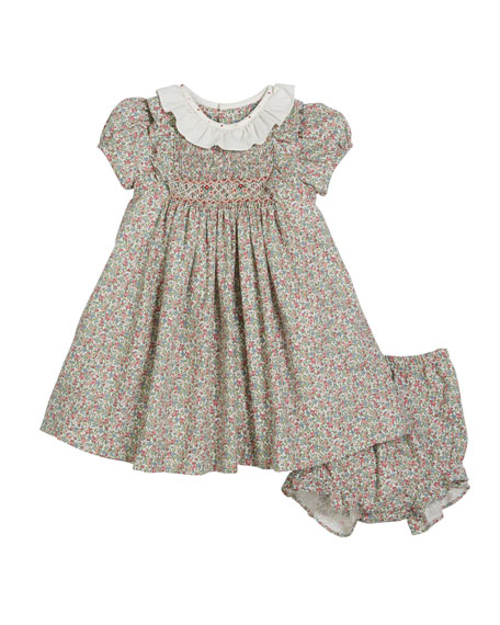 Luli & Me Lace Trim Short-Sleeve Dress w/ Bonnet & Bloomers, Size 12-24 Months