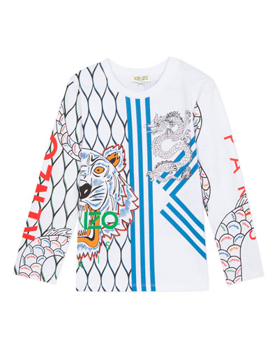 Multi-Iconic Tiger & Dragon Graphic Tee  Size 2-6