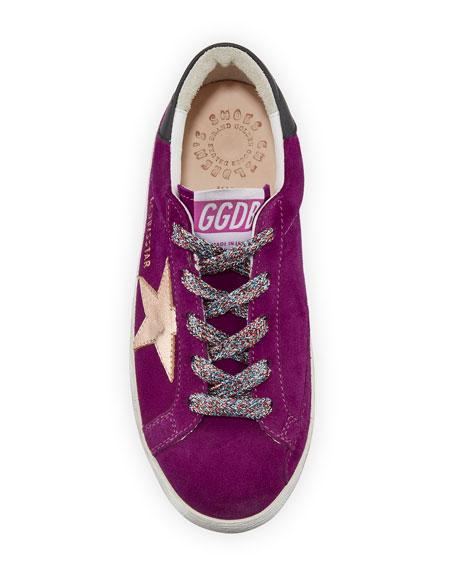 Golden Goose Girl's Superstar Suede Metallic Star Sneakers, Toddler/Kids