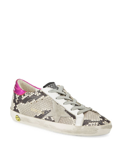 Girl's Superstar Snakeskin Embossed Leather Sneakers  Baby/Toddler