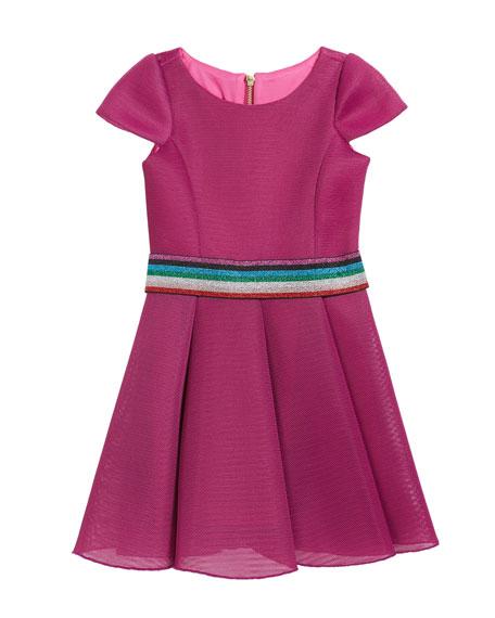 Zoe Girl's Cap-Sleeve Scuba Mesh Skater Dress w/ Multi Belt, Size 7-16
