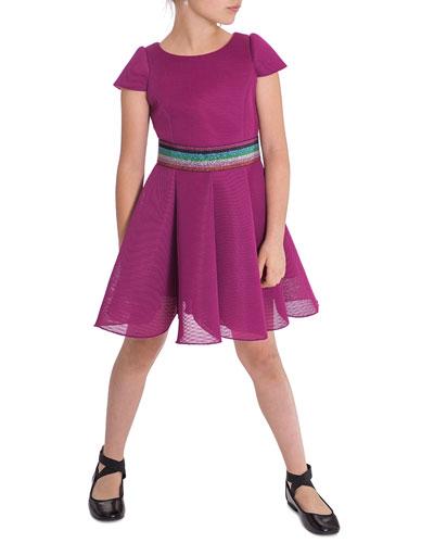 Girl's Cap-Sleeve Scuba Mesh Skater Dress w/ Multi Belt  Size 7-16