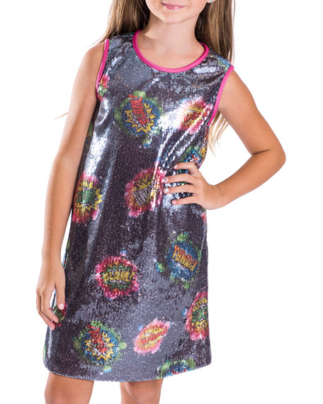 Zoe Girl's Super Girl Cosmic Print Sequin Shift Dress, Size 7-16