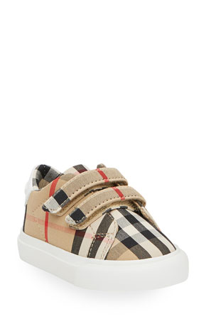 Burberry Markham Check Grip-Strap Sneaker, Baby