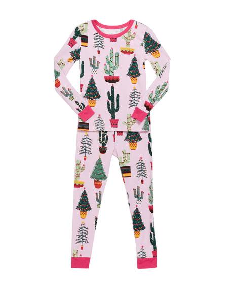 BedHead Pajamas Girl's Christmas Cactus Print Pajama Set, Size 10-14
