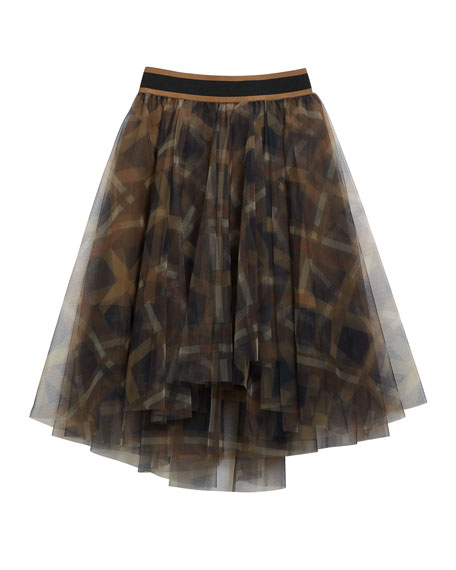 Brunello Cucinelli Girl's Printed Tulle A-Line Skirt, Size 6