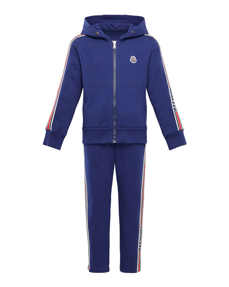 Moncler Boy's Molleton Two-Piece Jogging Set w/ Logo Taping, Size 4-6