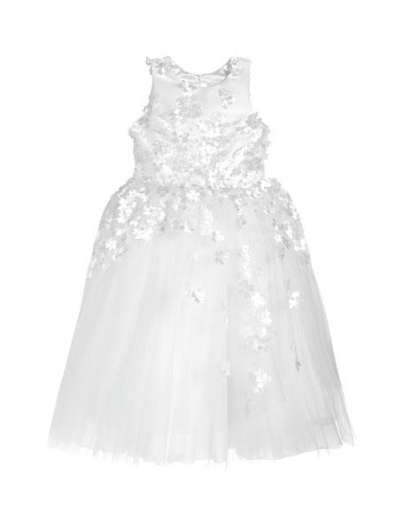 White Label by Zoe Girl's Lauren 3D Flower Embellished Tulle Dress, Size 4-12