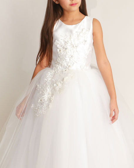 Image 1 of 2: White Label by Zoe Girl's Bella Tulle 3D Applique Dress, Size 6-12