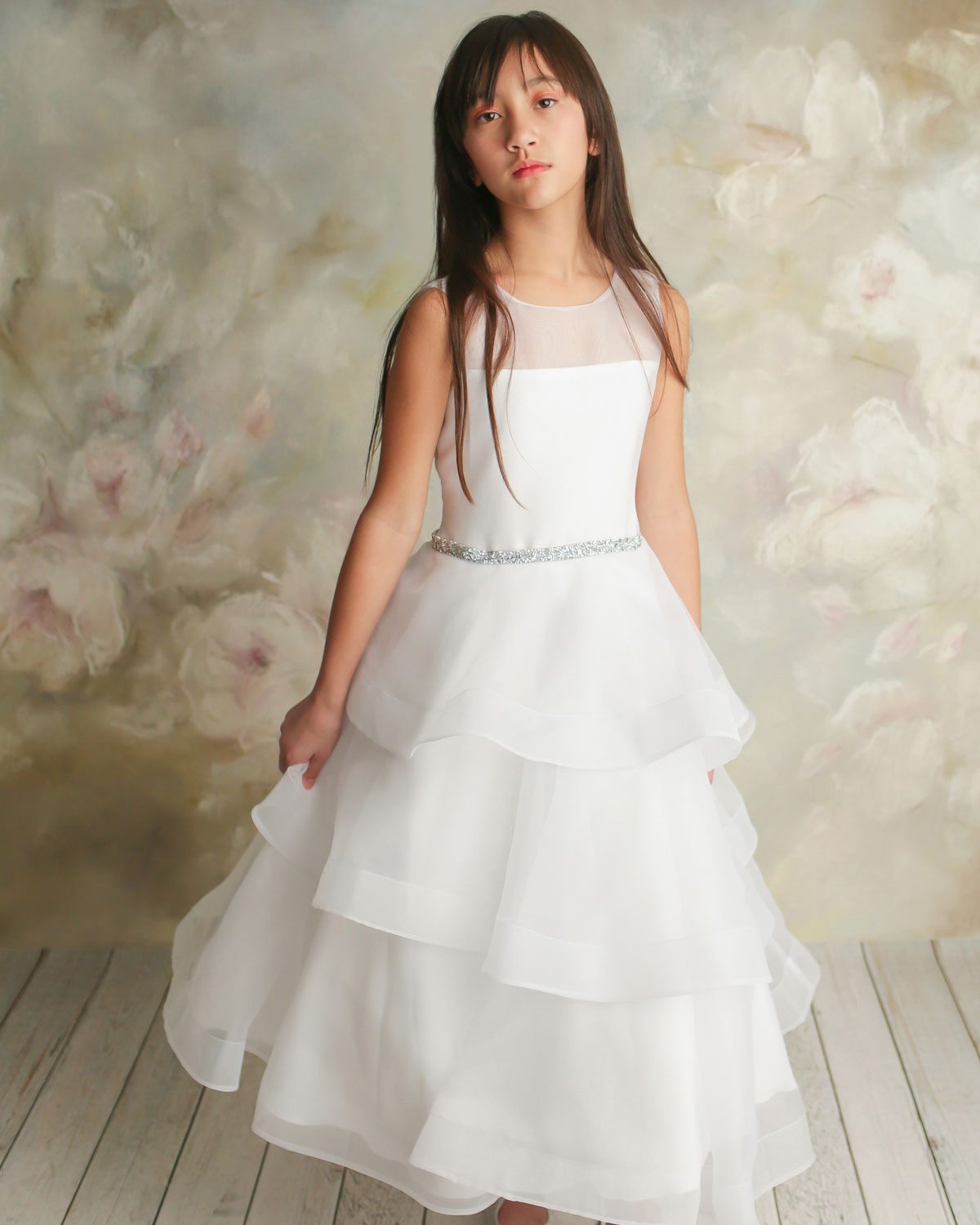 White Label by Zoe Girl's Ella Organza Tiered Dress, Size 7-12