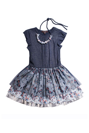 Imoga Girl's Yvette Tiered Dress w/ Necklace, Size 7-14