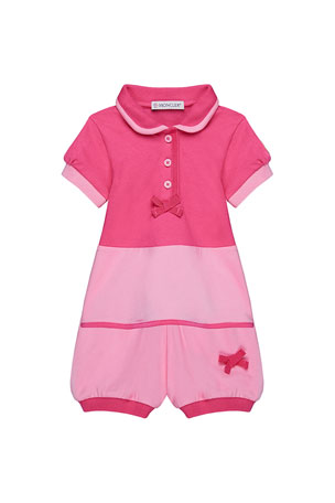 Moncler Two-Tone Piquet Stretch Bubble Romper, Size 12M-3