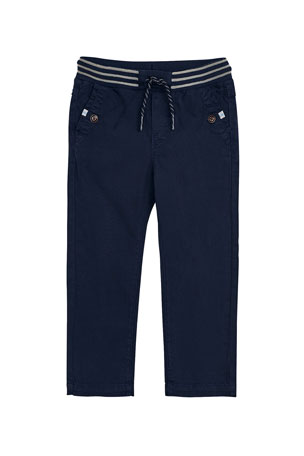 Mayoral Boy's Striped Waist Twill Pants, Size 4-7