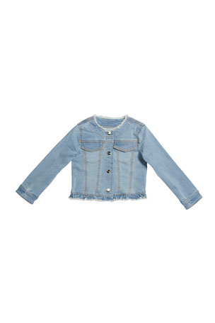 Mayoral Girl's Denim Jacket with Studs, Size 4-7