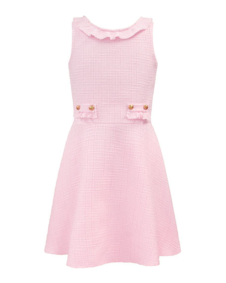 Image 3 of 4: David Charles Girl's Sleeveless Ruffle-Collar Tweed Dress, Size 10-16