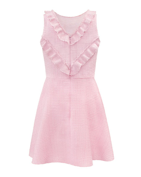Image 4 of 4: David Charles Girl's Sleeveless Ruffle-Collar Tweed Dress, Size 10-16