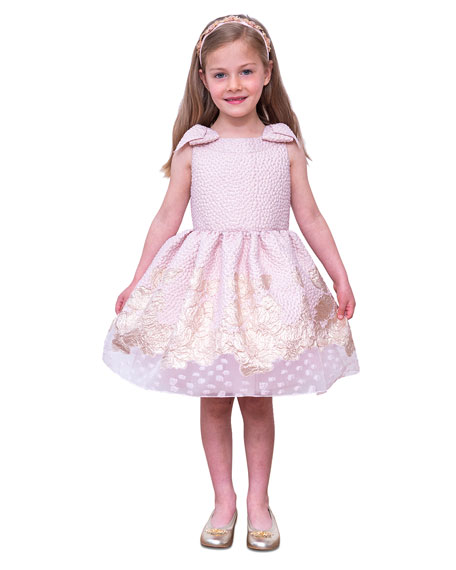 Image 2 of 4: David Charles Girl's Embroidered Jacquard Bow-Shoulder Party Dress, Size 4-10