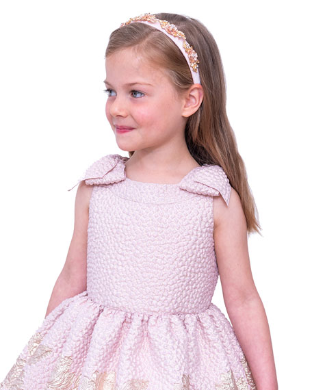 Image 3 of 4: David Charles Girl's Embroidered Jacquard Bow-Shoulder Party Dress, Size 4-10