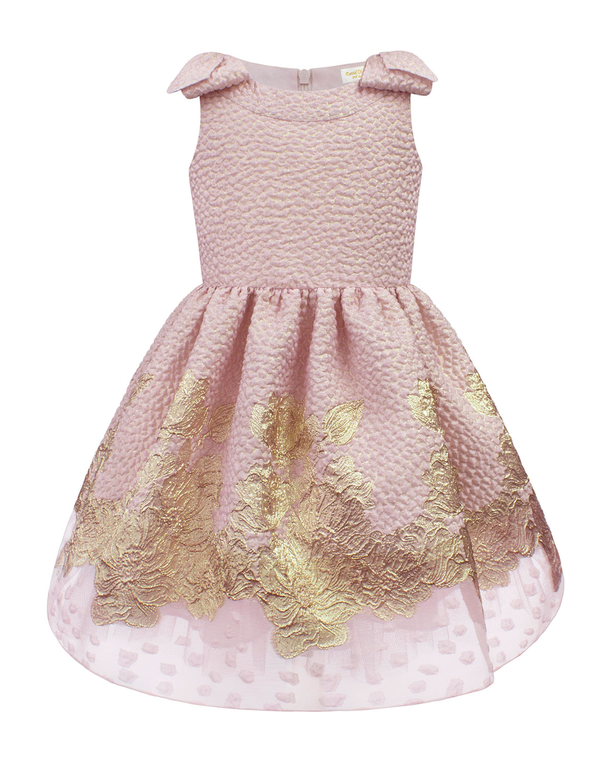 David Charles Girl's Embroidered Jacquard Bow-Shoulder Party Dress, Size 4-10