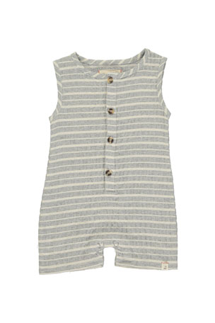 Me & Henry Boy's Striped Woven Playsuit w/ Children's Book, Size 0-24 Months