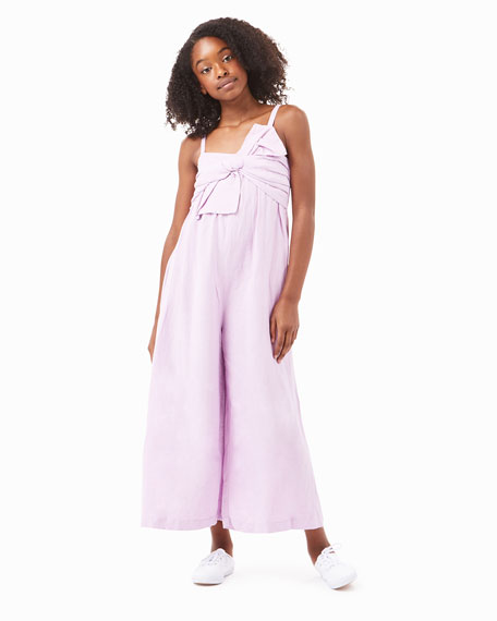 Image 2 of 4: Habitual Girl's Front Twist Sleeveless Linen Jumpsuit, Size 7-14