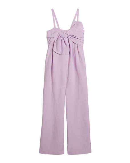 Image 1 of 4: Habitual Girl's Front Twist Sleeveless Linen Jumpsuit, Size 7-14
