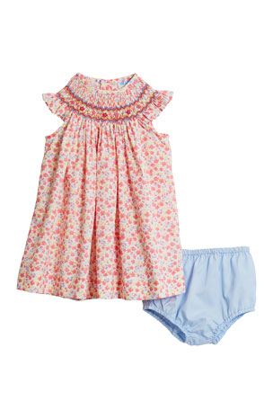 Luli & Me Coral Bishop Floral-Print Dress w/ Solid Bloomers, Size 6-24 Months