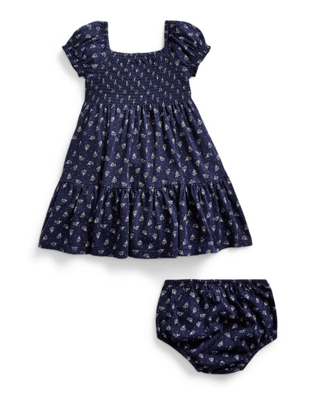 Image 2 of 2: Ralph Lauren Childrenswear Smocked Floral Dress w/ Bloomers, Size 9-24 Months