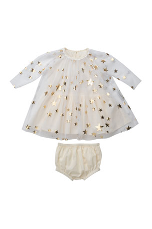 Stella McCartney Kids Gold Stars Tulle Dress w/ Bloomers, Size 6-36 Months
