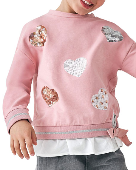 Image 2 of 2: Mayoral Girl's Sequin Hearts Sweatshirt, Size 4-8