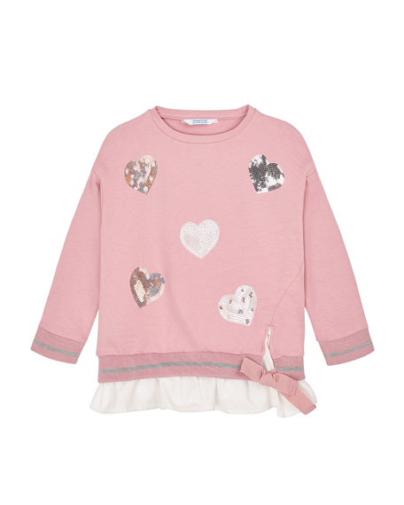 Image 1 of 2: Mayoral Girl's Sequin Hearts Sweatshirt, Size 4-8