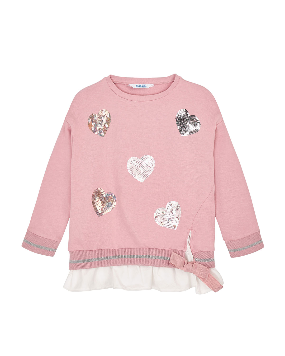 Mayoral Girl's Sequin Hearts Sweatshirt, Size 4-8