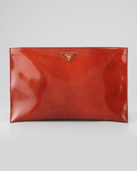 Spazzolato Clutch Bag, Orange
