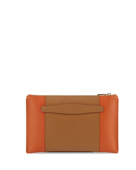 Bicolor Saffiano Large Zip Clutch Bag, Brown/Orange (Caramel/Papaya)