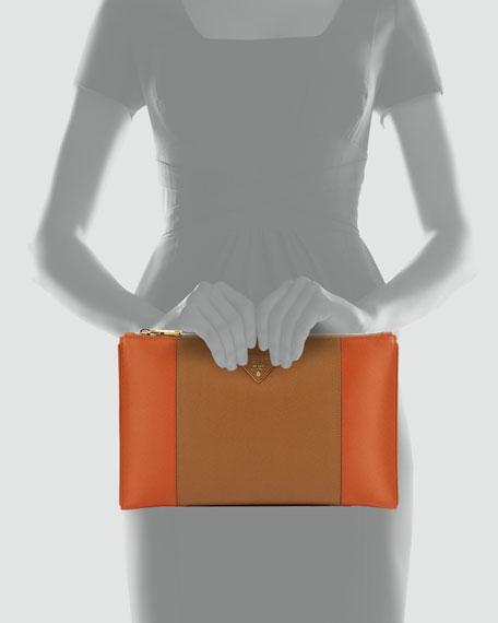 Bicolor Saffiano Large Zip Clutch Bag, Brown/Orange (Caramel/Papaya)