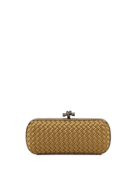 Bottega Veneta Satin-Snakeskin Stretch Knot Minaudiere, New