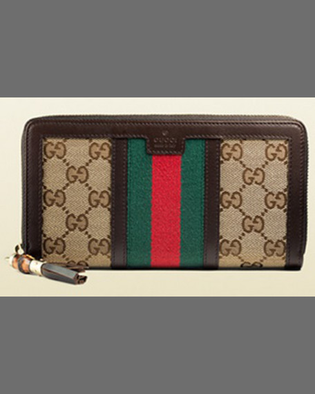 Gucci Rania Original GG Canvas Zip Around Wallet,