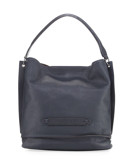 Longchamp Longchamp 3D Leather Hobo Bag, Midnight Blue