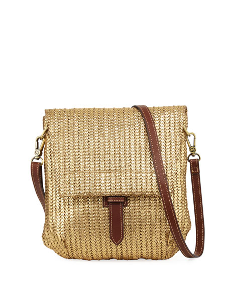 Eric Javits Jade Flap-Top Crossbody Messenger Bag, Gold