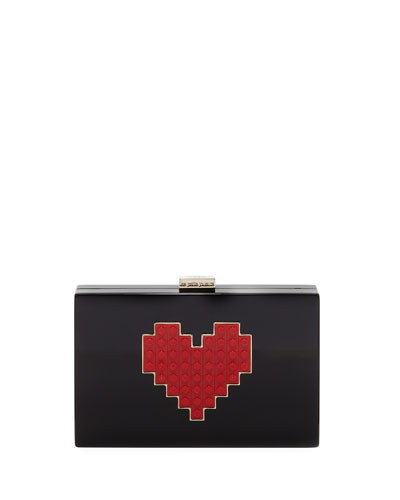 Grace Lolita Heart Clutch Bag, Black/Red