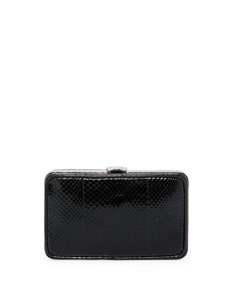 Prada Snakeskin Box Clutch, Black (Nero)