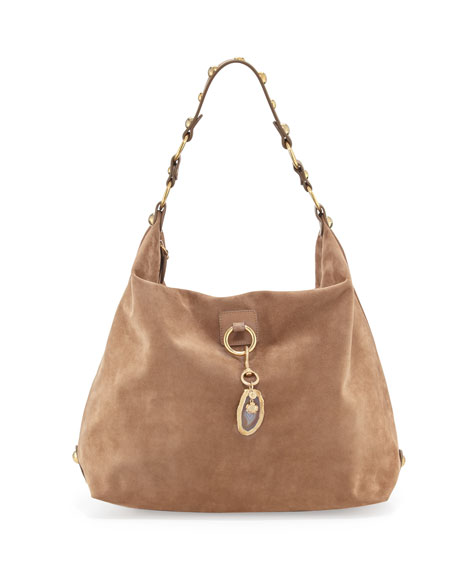 Lanvin Large Nubuck Hobo Bag, Dark Beige